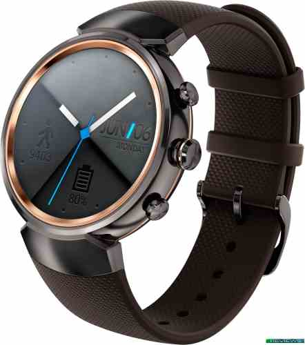 ASUS ZenWatch 3 Gunmetal case/Brown rubber band WI503Q